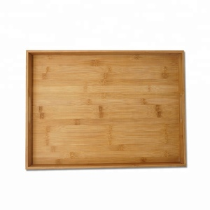 Wholesale Hot Sell Kitchen Bamboo Storage Serving Tray With Handles for food fruit