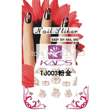 BeautyNailArt Pink Flower with Gold lined design 3d nail design for Nail accessories tools use nail