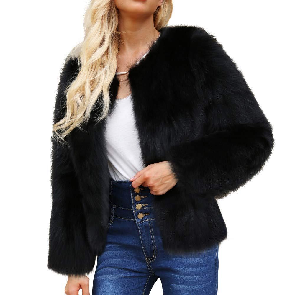 Sikye Coat&Jacket,Womens Ladies Warm Faux Fur Shaggy Coat Winter Solid Parka Outerwear