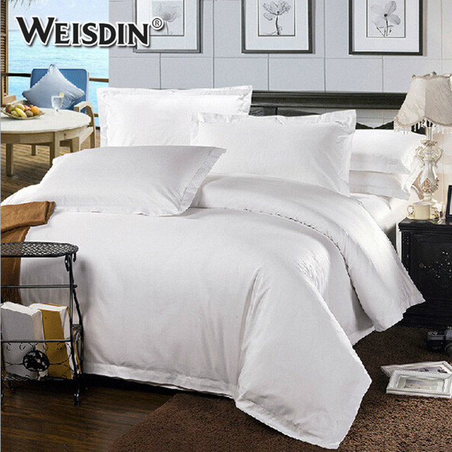 Wholesale Bed Linen King Size White Plain Sateen100% Cotton Hotel Bedding Bed  Sheet