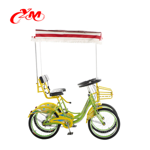 2 person bike public on road/orange color cycling/entertainments bikes/tandem bikes 2 seats