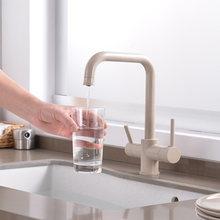 Вращающийся на 360 градусов латунный питьевой фильтрованной воды кухонный кран изгиб и двойной правый угол и правый угол кран кухонный кран ...(Китай)