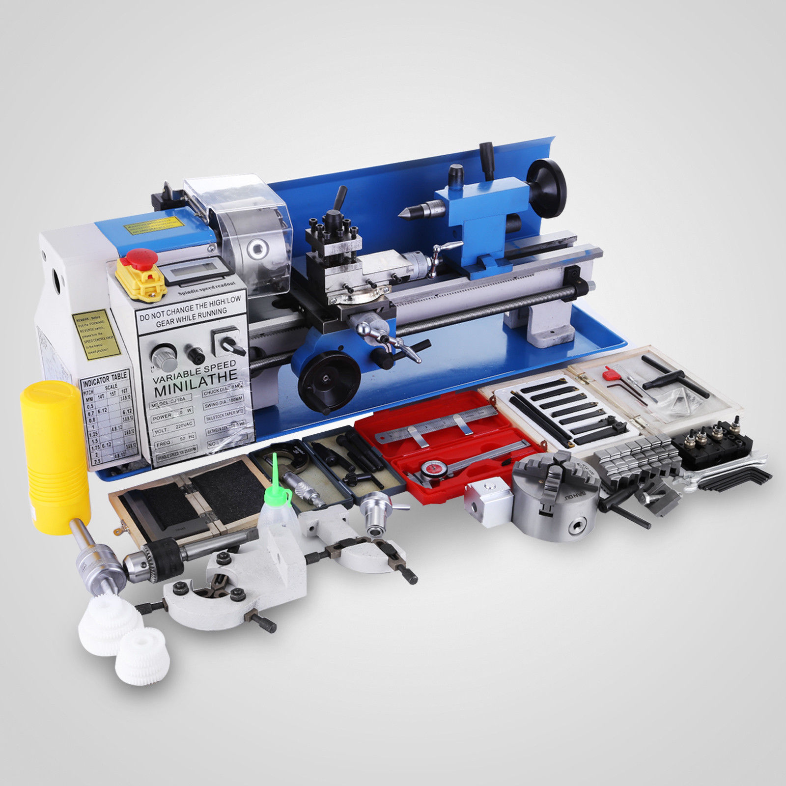 550W Mini Metal Lathe 7x14 inch for Metal Bench Top Lathe Precision Parallel Lathe Variable Speed Digital Drilling