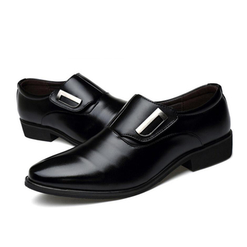 Black Cow Leather Men Office Shoes