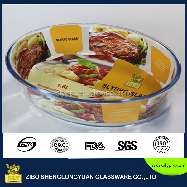 Borosilicate microwave oven safe bakeware oval 1.6L glass baking dishes