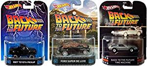 Hot Wheels Retro Entertainment Back to the Future Collection Delorean Time Machine, 1987 Toyota Pick-Up, Ford Super De Luxe