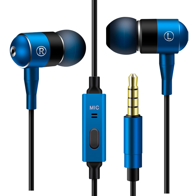 3.5mm jack plug Metallic headphone  Noise Cancelling free sample airline super bass earphone with mic