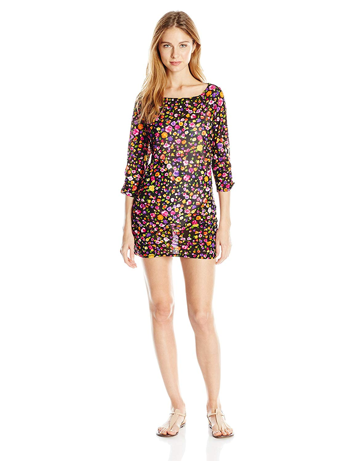 Anne Cole Women's Rosebud Floral Print Mesh Boat Neck Side-Shirred Cover up