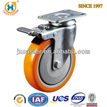 5 inch Threaded stem caster,Total brake caster with PU wheel