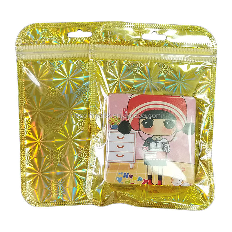 Stand up glitter  hologram mylar ziplock bags for packaging