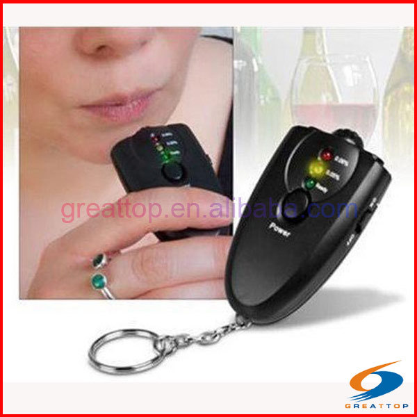 cheap drive safety fit mini keychain led alcohol breath tester