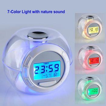 7 Geleidelijke Kleur Colrful Led Licht Met 6 Natuurlijke Geluid Wekker  Slaapkamer Klok - Buy Slaapkamer Klok,Led Wekker,Digitale Wekker Product on  ...