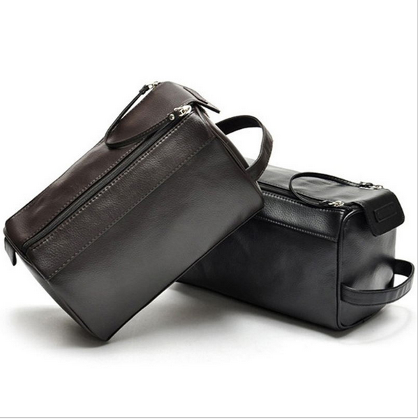 Men Leather Wash Bag Travel Bag Organizador trousse de toilette cosmetic bags