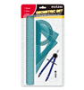 Blister card stationary with rulers compasses, drawing measure tools, geometry stationery set