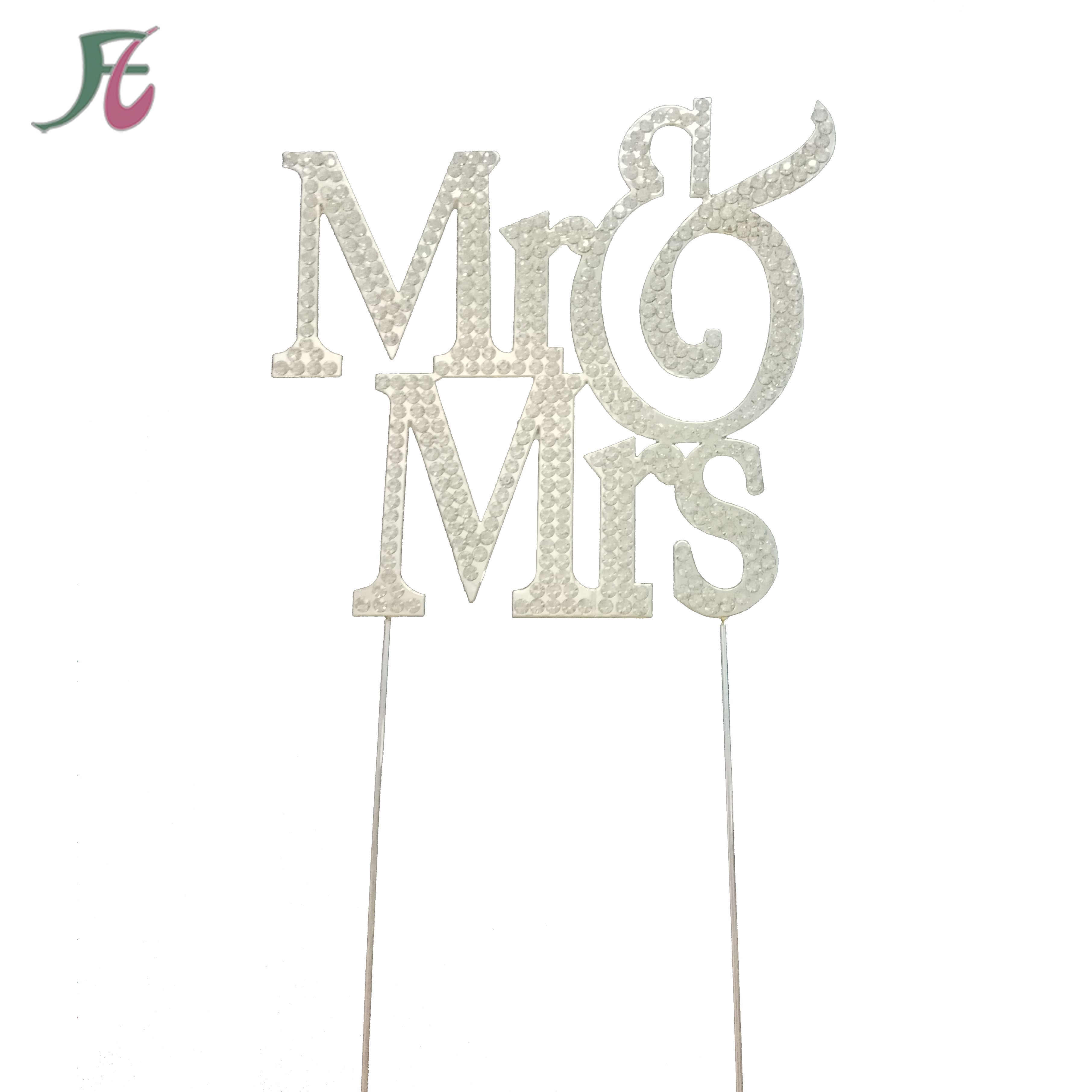 Groothandel Strass Diamante Brief Monogram Cake Topper MR & Mrs voor Wedding Party Cake Decorations
