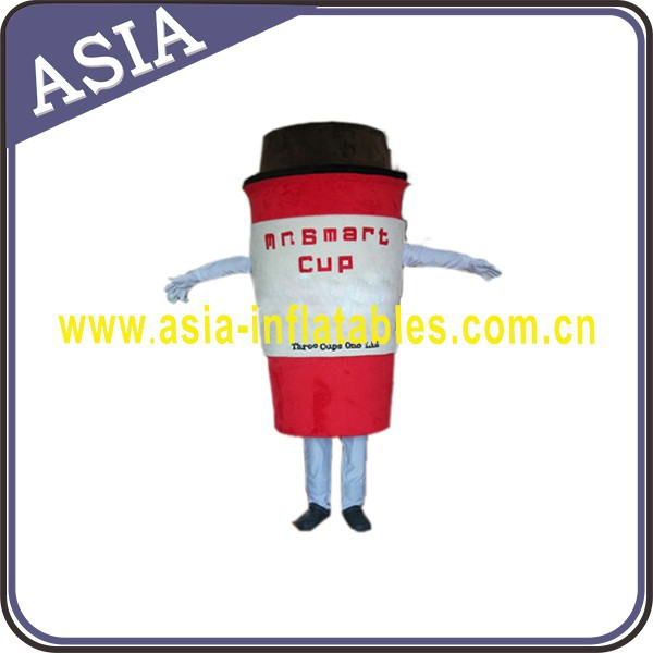 Wholesale cup of coffee model costume for advertising, coffee cup mascot costumes
