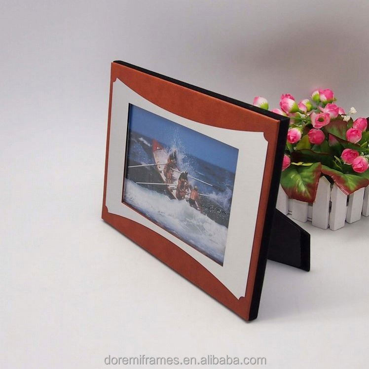 Luxury hand made Funny Excellent Quality Beautiful Leather Large Size Digital Photo Frame Clock Frames