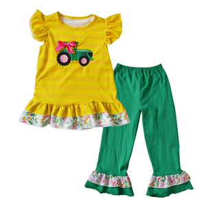 Newest remake kids clothing sets children's boutique clothes wholesale baby girl spring summer car applique outfit