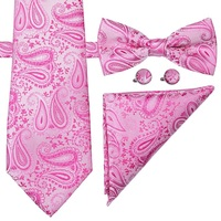 S-092 Wholesale Pink Paisley Bow Ties Men Bowties and Handkerchief Set
