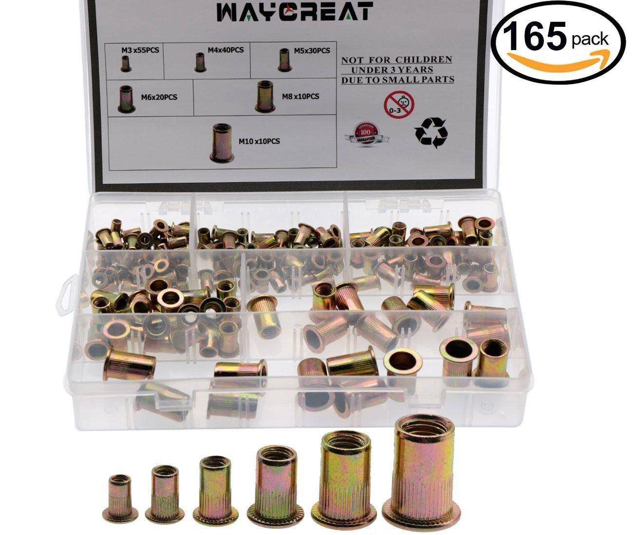 Rivet Nut Kit, Waykino Zinc Plated Carbon Steel Rivet Nuts Threaded Insert Kit Nutsert M3 M4 M5 M6 M8 M10 Pack of 165