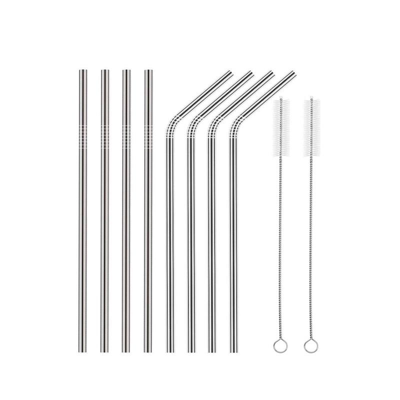 China Wholesale Custom Logo Herbruikbare Rvs 304 Rietjes Metal Straw met Siliconen Tips & Borstel