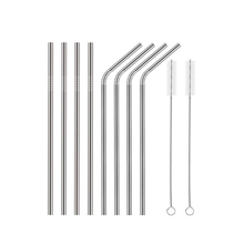 China Wholesale Custom Logo Herbruikbare Rvs 304 <span class=keywords><strong>Rietjes</strong></span> Metal Straw met Siliconen Tips & Borstel