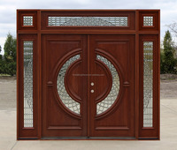 Luxury Exterior Hardwood Double Leaf Entry Doors for US Villa