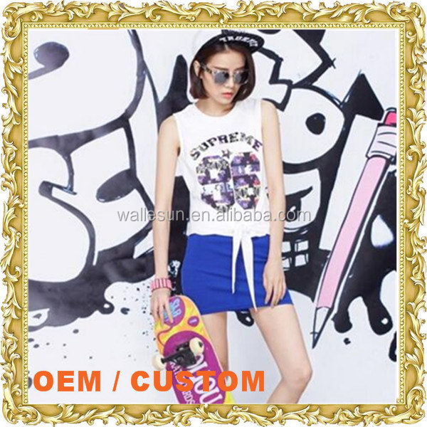 Fashionable crop top loose fit custom print tank top women mini vest body armor vest