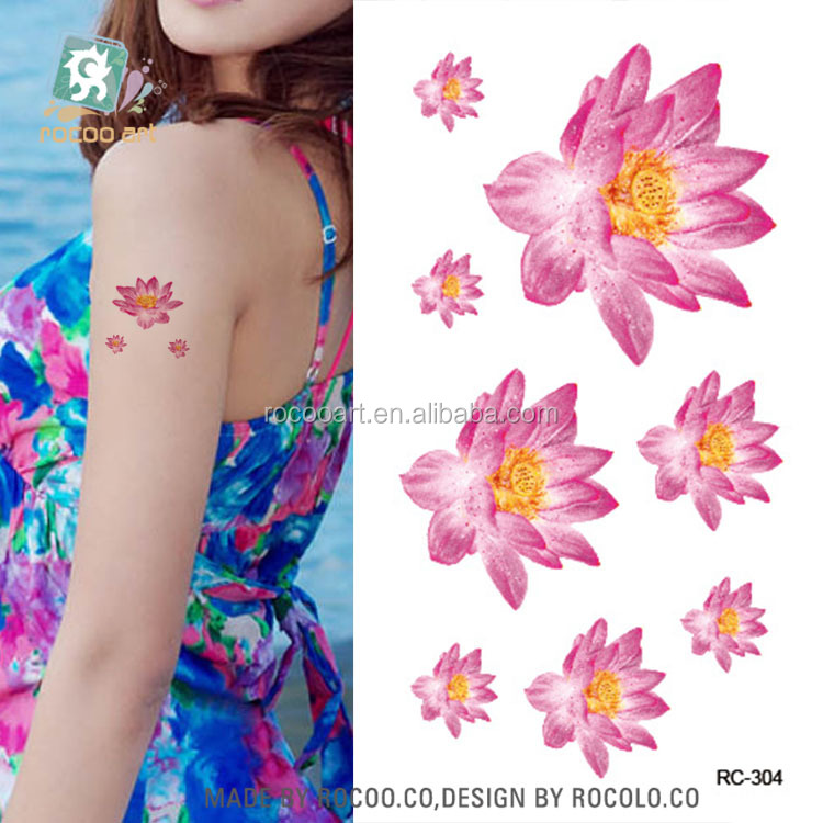 d8ae8951d RC304/Sexy Waist Shoulder Water Transfer Tattoo Decal Waterproof Temporary  Tattoo Sticker Pink Lotus Flowers Fake Tattoo