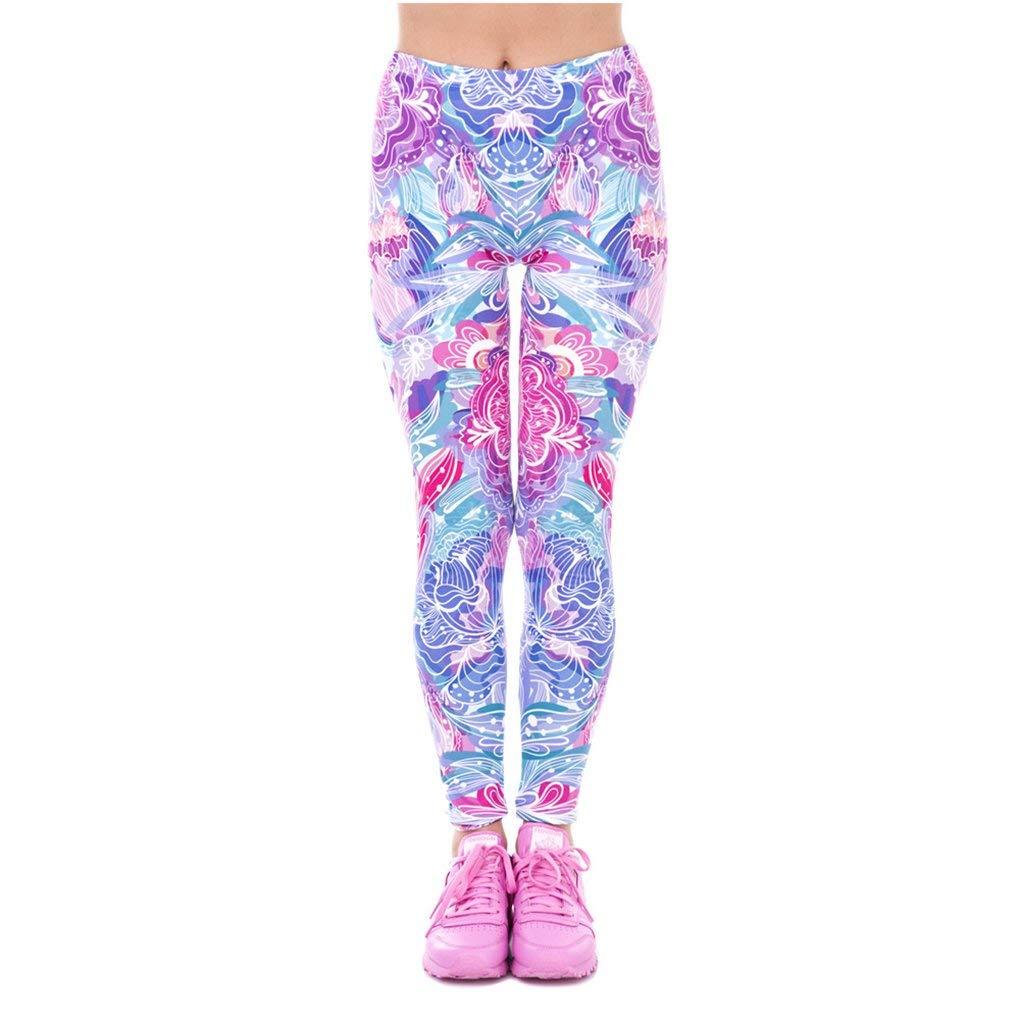 Dovaly Fashion Women Flowers Printed Legging Elegant High Waist Leggings