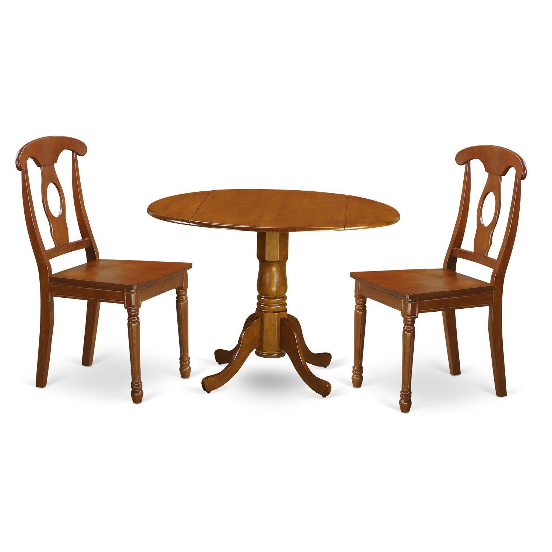 East West Furniture DLNA3-SBR-W 3-Piece Kitchen Nook Dining Table Set, Saddle brown Finish