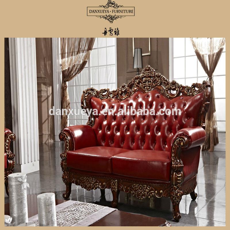 Estilo europeo clásico antiguo tallado sofá de cuero de madera ...