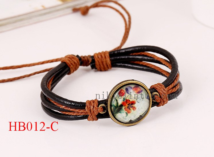 Adjustable Flower Charms Braided Leather Snap Bracelet