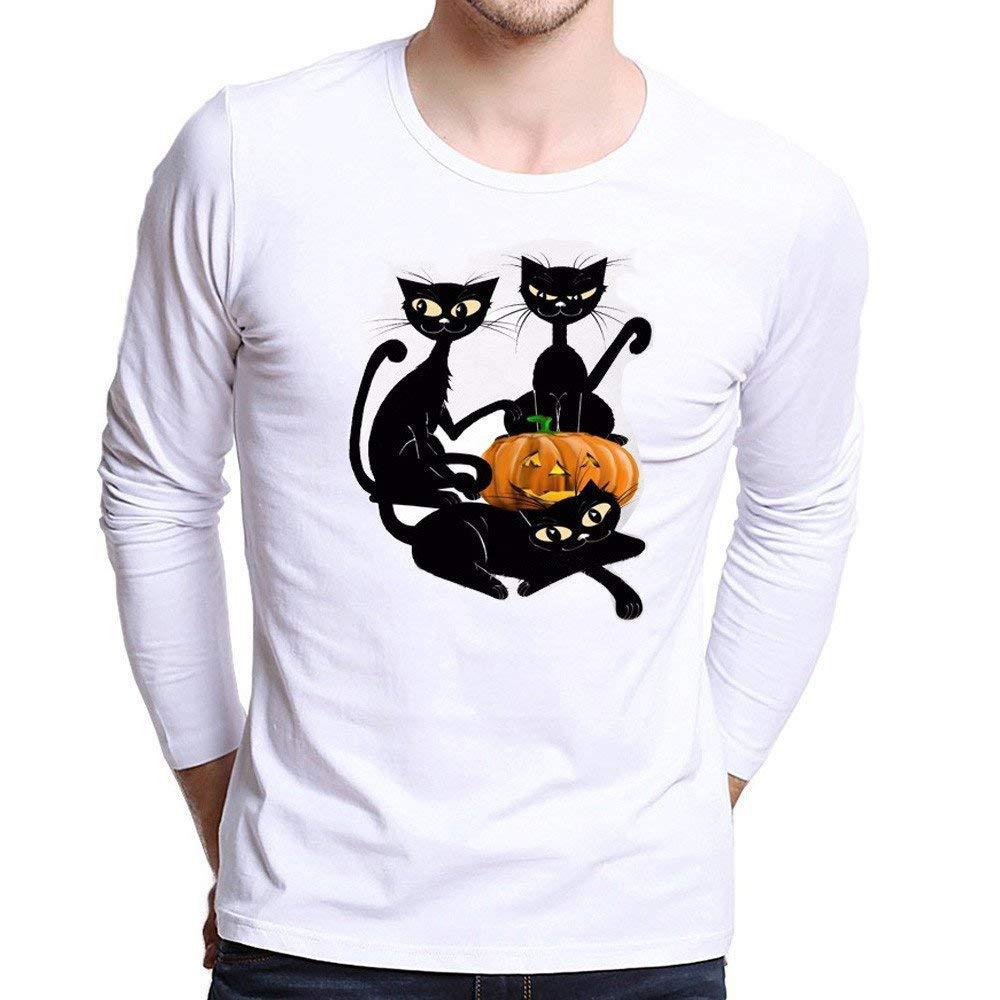 Photno Mens Tee Shirts,Halloween Mens Long Sleeve Shirts Slim Fit Pullover Tops Boys T Shirts Men