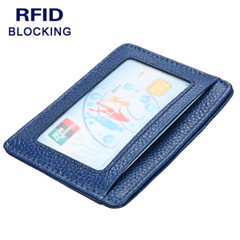 Women Men's Genuine Leather Minimalist Slim Secure Protected Anti RFID Blocking Wallet