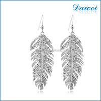 wholesale fashion jewelry silver feather charm drop earrings
