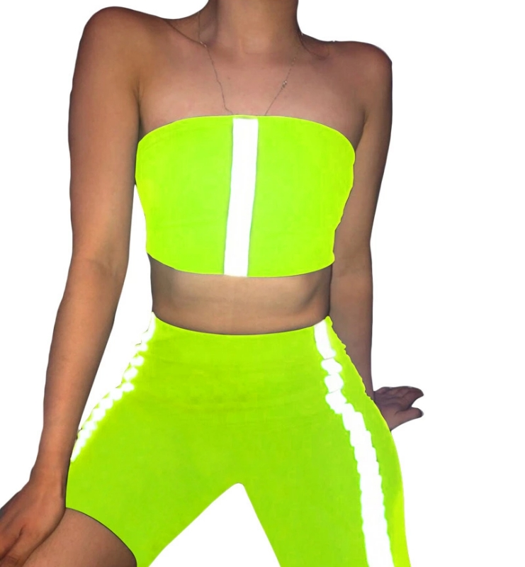 Stretchy Neon Reflective Striped Biker Shorts Set Tracksuit Women Two Piece Fitness Crop Top And Short Matching Sets фото