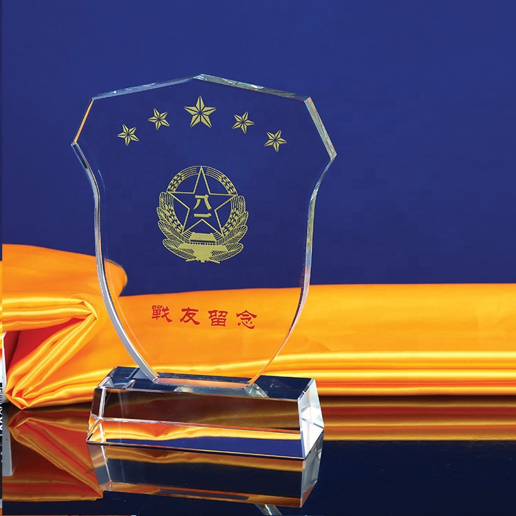 Award Sandblasting k9 Crystal Shields and trophy For Awards Gifts