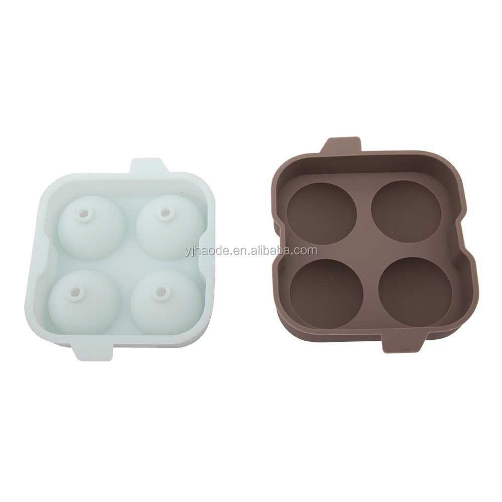 FDA LFGB 2 holes silicone ice ball mold 60mm