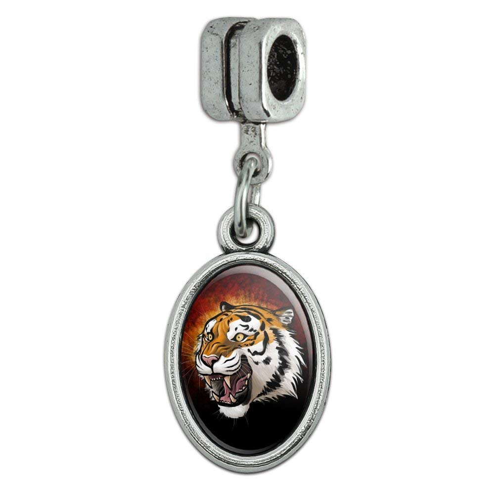 6b5f2393ec97ef Get Quotations · Fierce Tiger Italian European Style Bracelet Oval Charm  Bead