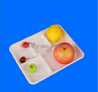 biodegradable microwavable tableware 5 compartment lunch packing tray