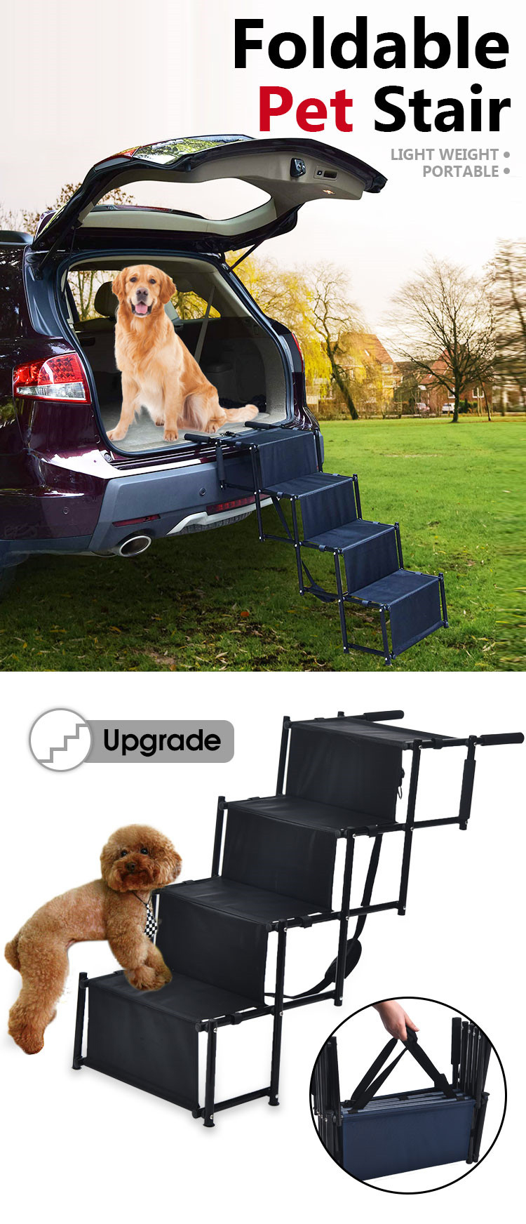Lightweight Collapsible Accordion Portable Dog Steps for Cars SUV High Bed 4 Steps