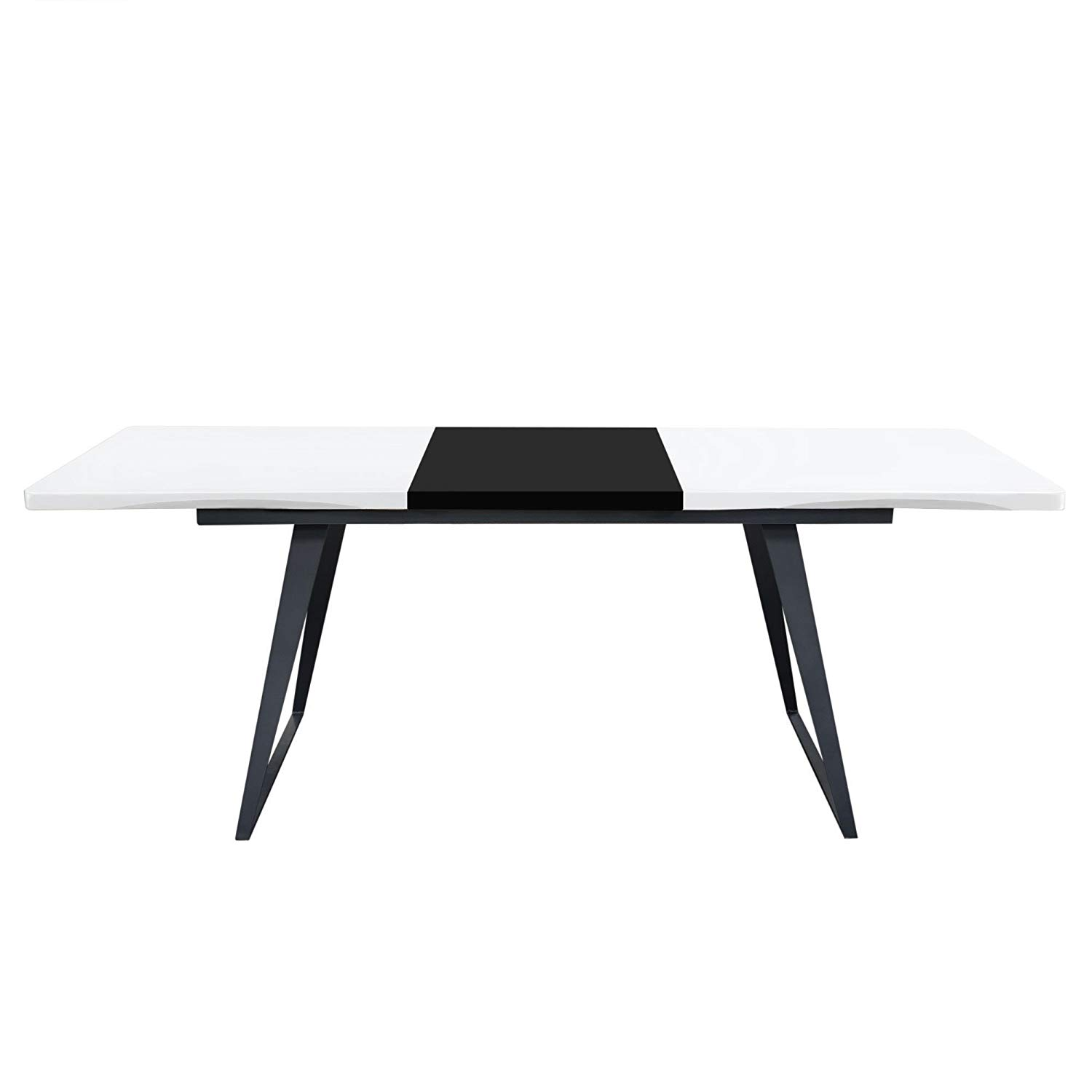Get Quotations Diamond Furniture Tempodtwhbl Tempo Extension Dining Table In White Lacquer Finish With Black Leaf