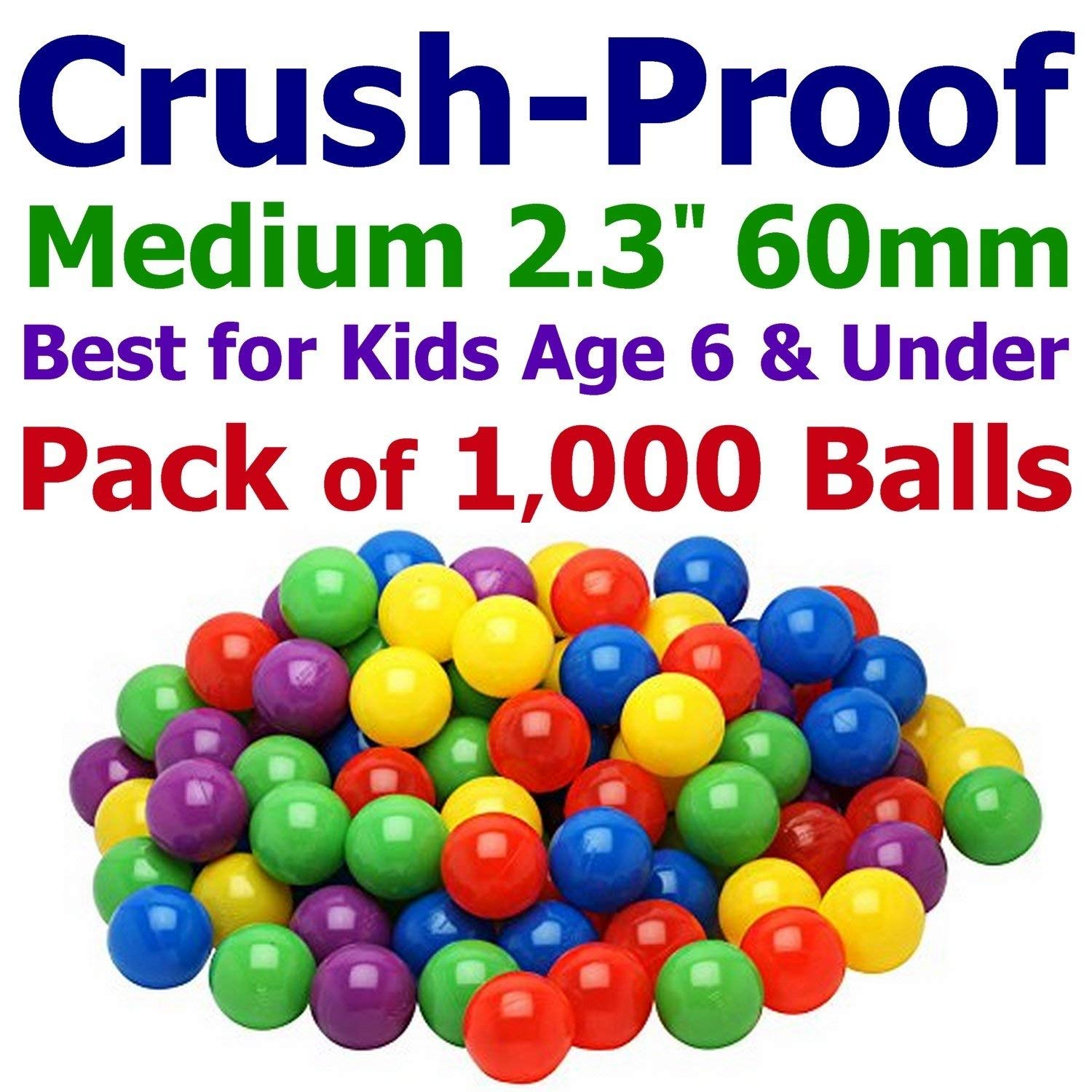 """My Balls 1000 Ball Pit Balls - 5 Bright Colors; 2.3"""" 60mm Medium Size, Crush-Proof Air-Filled; Phthalate Free; BPA Free; Non-Toxic; Non-PVC; Non-Recycled Plastic Same Size as Click N' Play"""