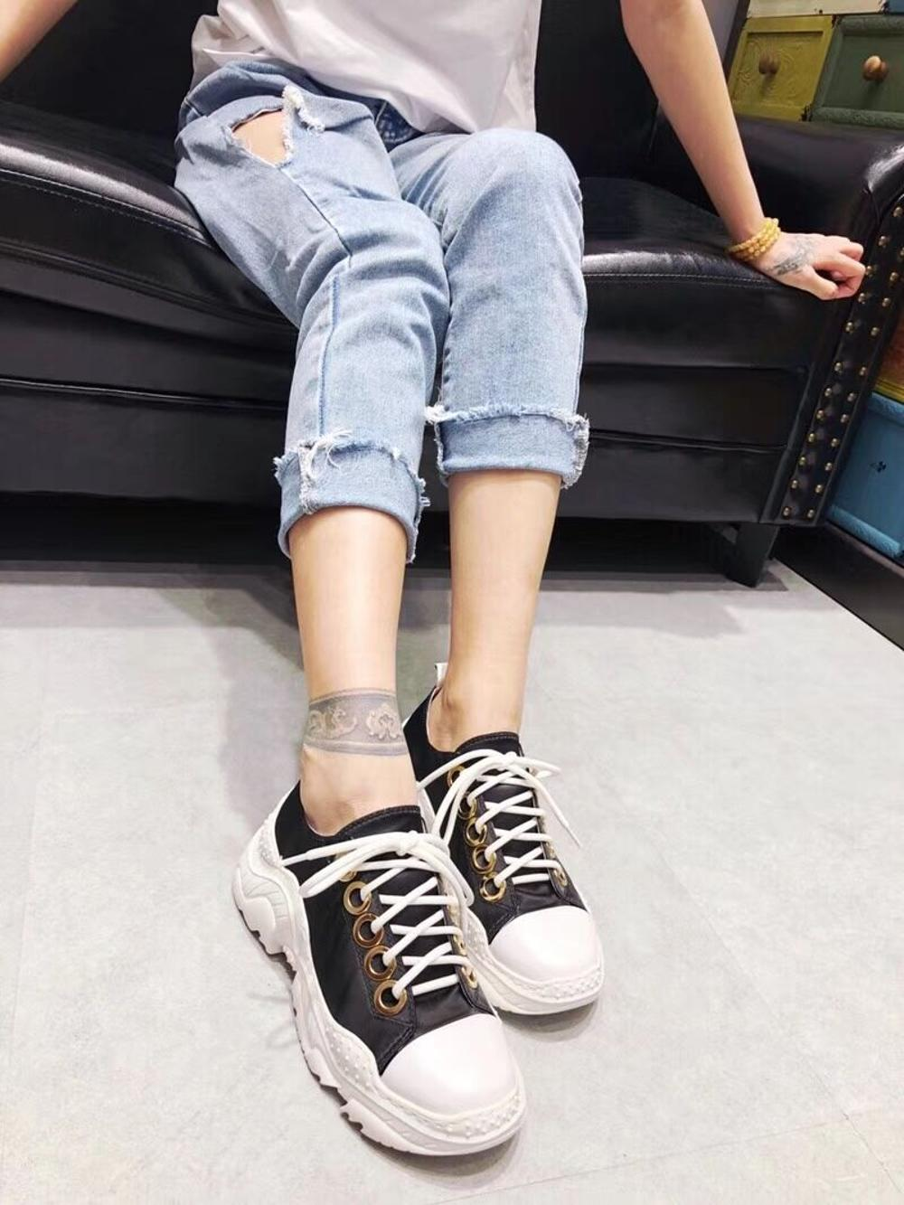 with women's breathable shoe shoes version to old autumn thick spring leather casual European of and yarn the new soled increase TqpCvw