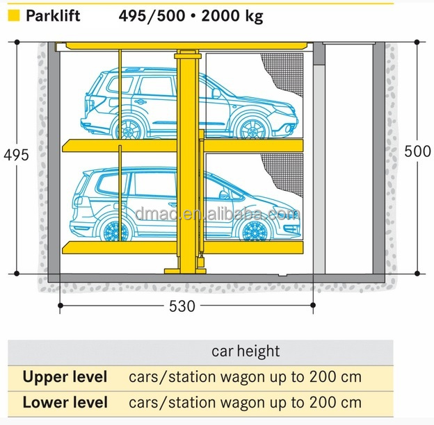 2 Level Invisible Car Lift Parking System For Home Garage