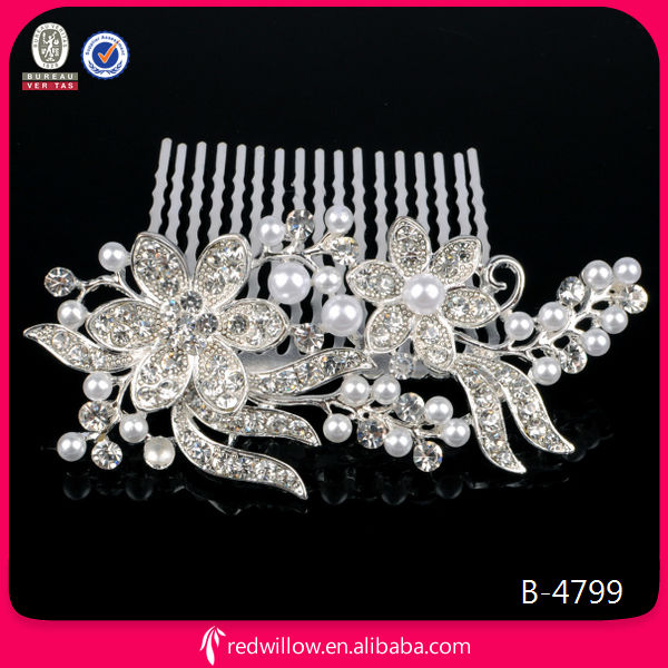 Manufacturer Supply Fancy Rhinestone Bridal Hair Comb Wholesale Metal Hair Combs