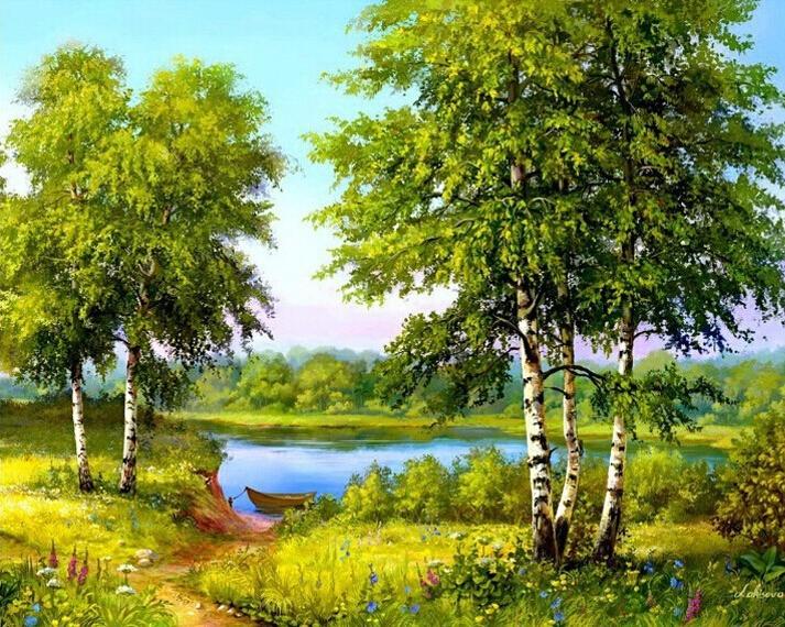 Ben noto Dipinti Paesaggi Primaverili YI68 » Regardsdefemmes TH98