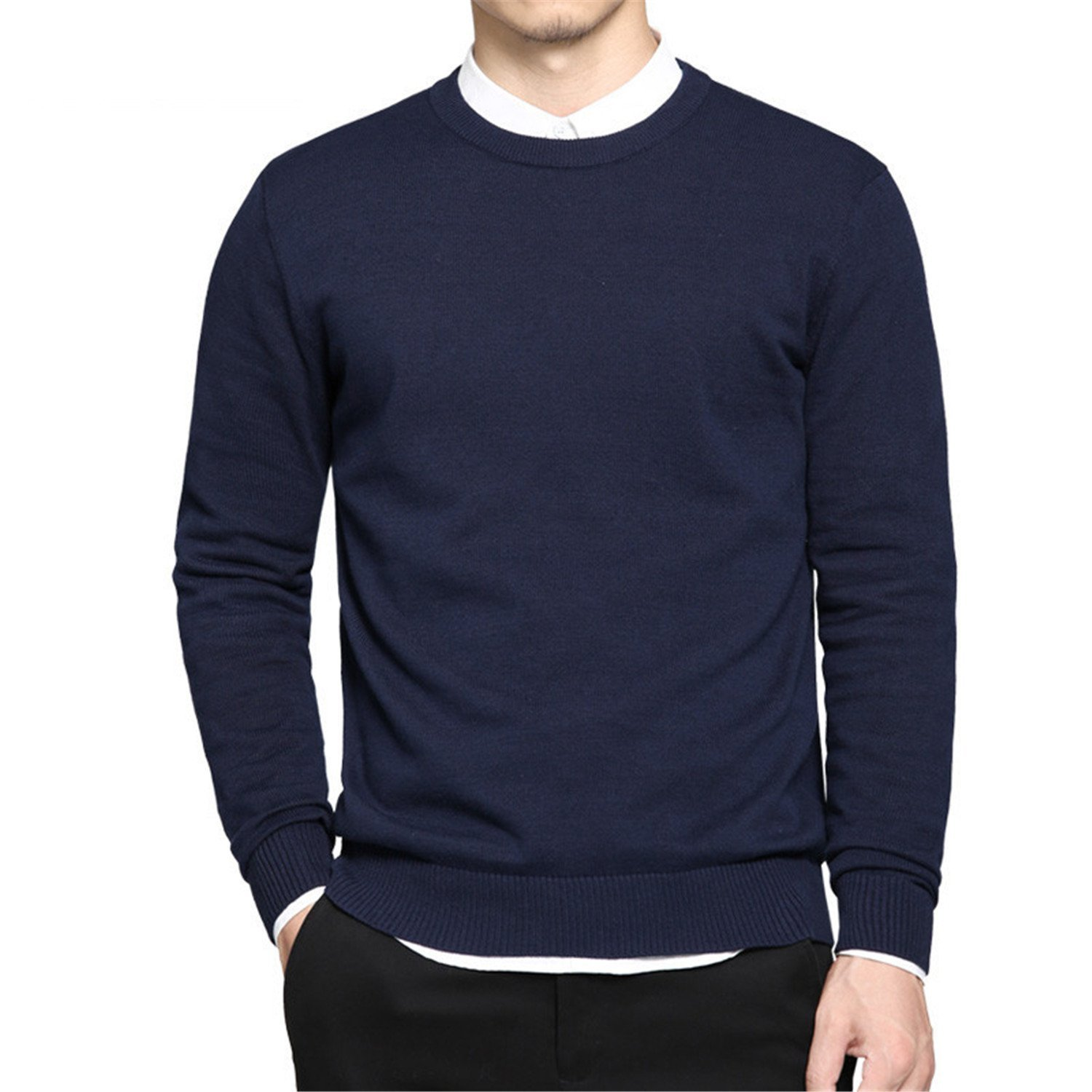 0e2bc3fe499 Get Quotations · B dressy Handsome and Silm New Spring mens pullover  sweaters Simple style cotton O neck sweater