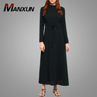 Modern Fashion Lace Up Contrast Waist Slim Sleeves Muslim Abaya Black High Neck Maxi Dress Islamic